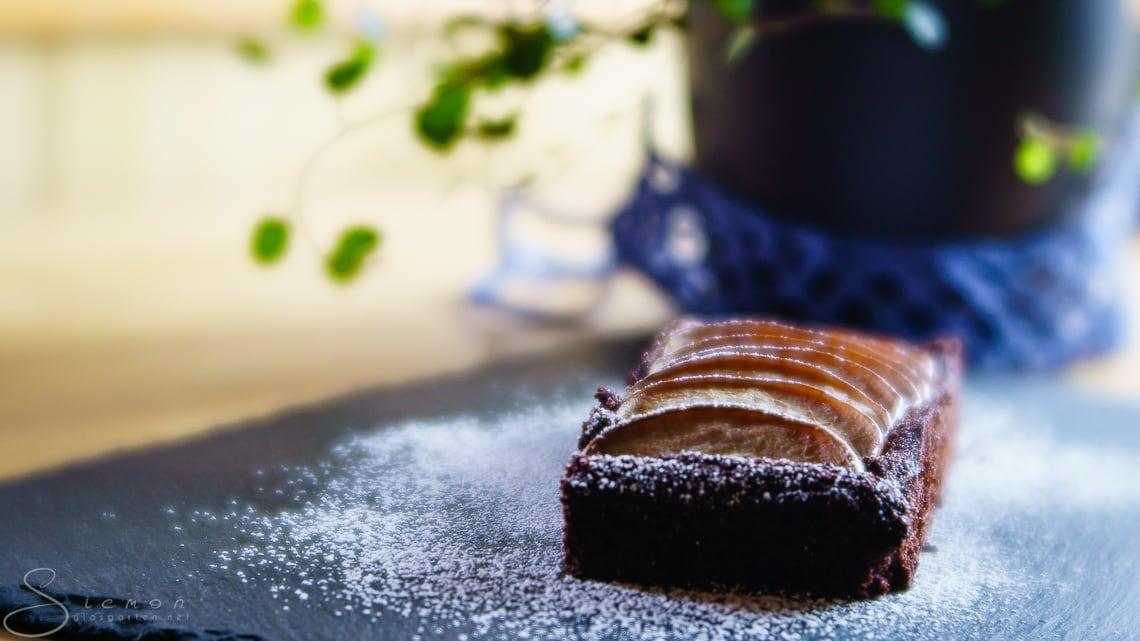 Rezept: Lowcarb Schokokuchen mit Birnen